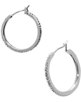 Social Set Medium Pave Hoop Pierced Earrings