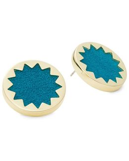 Sunburst Button Stud Earrings