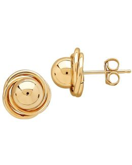 14k Gold Love Knot Ball Stud Earrings