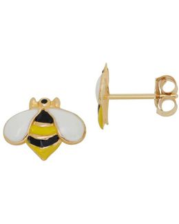 14k Yellow Gold Bumble Bee Stud Earrings