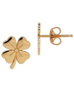 14k Yellow Gold Four-leaf Clover Stud Earrings