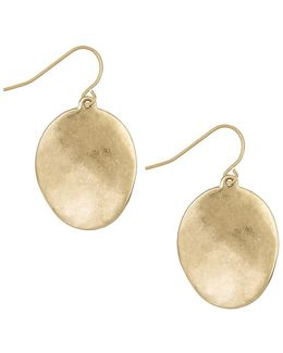 Goldtone Wavy Disc Drop Earrings