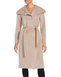 Belted Wrap Wool-blend Coat
