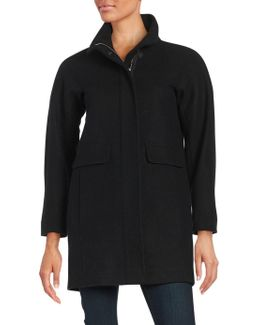 Plus Wool-blend Stand Collar Coat