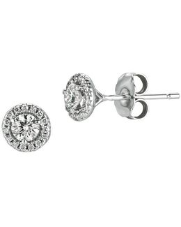 Diamond, 0.5 Tcw And 14k White Gold Stud Earrings