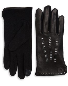 Wool-blend And Leather Touch Gloves