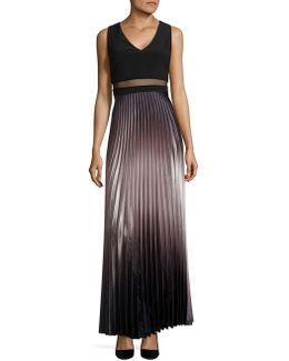 Pleated Ombre Gown