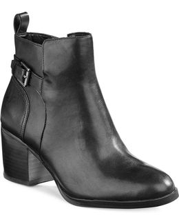 Genna Buckled Leather Ankle Boots