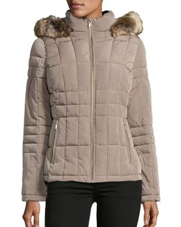 Faux Fur-trimmed Short Puffer Coat