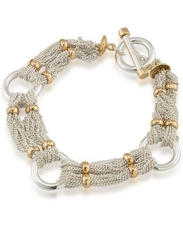 12k Goldplated Brass Chain-and-ring Bracelet