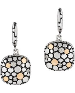 Diamond And 18k Gold-plated Sterling Silver Omega Drop Earrings