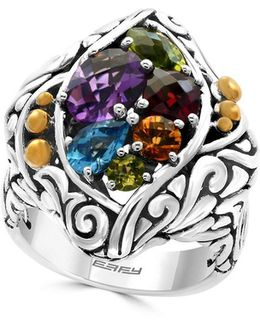 Amethyst, Blue Topaz, Citrine, Garnet, Peridot And 18k Gold-plated Sterling Silver Ring