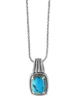 Turquoise, 18k Yellow Goldplated And Sterling Silver Pendant Necklace