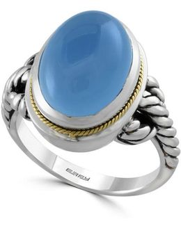 Chalcedony, 18k Yellow Goldplated And Sterling Silver Ring