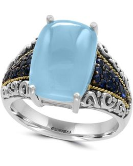 Sapphire, Chalcedony, 18k Yellow Goldplated And Sterling Silver Ring