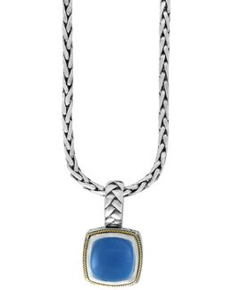 Chalcedony, 18k Goldplated And Sterling Silver Pendant Necklace