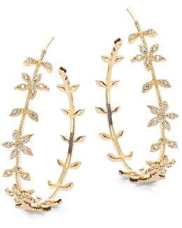 Golden Floral Hoop Earrings- 1.25 In.