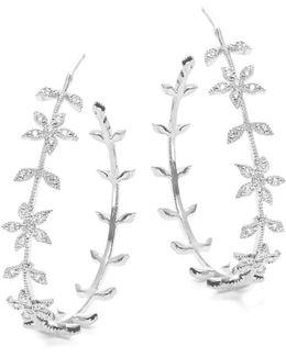 Silvertone Floral Hoop Earrings- 1.25 In.