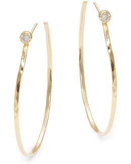Cubic Zirconia Accented Open Hoop Earrings