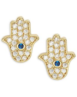 Pave Hamsa Stud Earrings