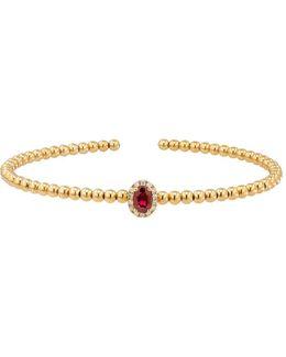 Diamonds And 14k Hollow Yellow Gold Open Bangle Bracelet