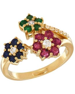 Ruby, Emerald, Blue Sapphire, White Sapphire And 14k Yellow Gold Ring