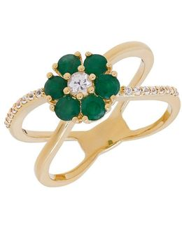 Emeralds, White Sapphire And 14k Yellow Gold Ring