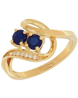 Diamonds, Sapphire And 14k Yellow Gold Ring