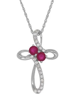 Ruby, White Sapphires And Silver Pendant Necklace