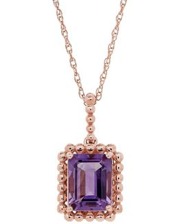 Amethyst And 14k Yellow Gold Bead Emerald Cut Pendant Necklace