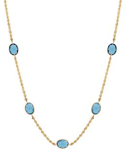 Blue Topaz And 14k Yellow Gold Necklace