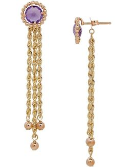Amethyst And 14k Yellow Gold Drop Earrings