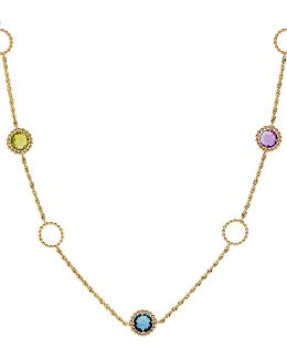 Swiss Blue Topaz, Amethyst, Peridot, Citrine, London Blue Topaz And 14k Yellow Gold Pendant Necklace