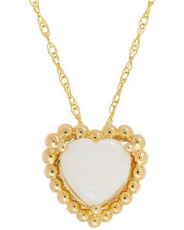 Opal And 14k Yellow Gold Beaded Heart Pendant Necklace
