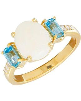 Diamond, Blue Topaz And 14k Yellow Gold Ring