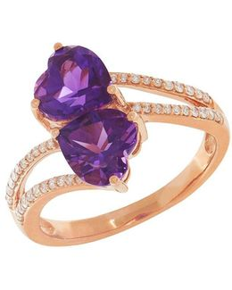 Diamond, Amethyst And 14k Rose Gold Ring