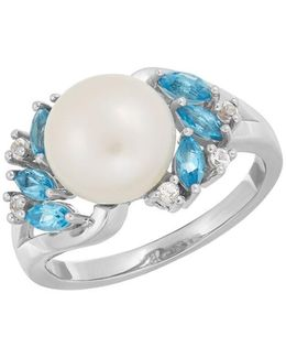 9-10mm Button Freshwater Pearl, Blue Topaz And White Topaz Sterling Silver Ring