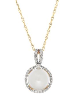 8mm Freshwater Button Pearl, Diamonds And 14k Rose Gold Pendant And Chain