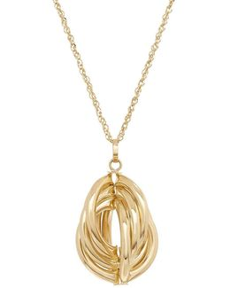 14k Yellow Gold Intersectional Hoop Pendant Necklace