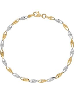 Rhodium Plated 14k Yellow Gold Link Bracelet
