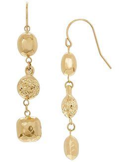 14k Yellow Gold Oval Bead Dangle Earrings