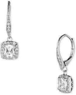 Pave And Faceted Cubic Zirconia Earrings
