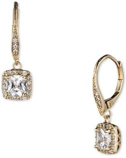 Pave Cubic Zirconia Square Drop Earrings