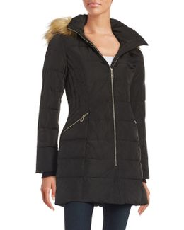 Quilted Faux Fur-trimmed Coat