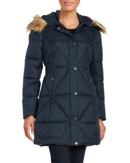 Faux Fur Trimmed Quilted Coat