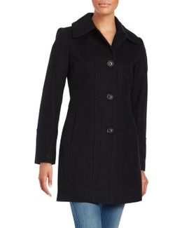 Wool-blend Button-front Coat