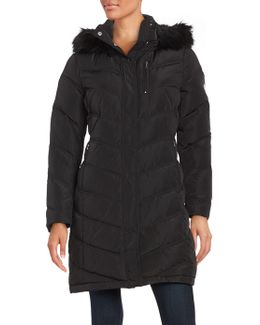 Petite Faux Fur-trimmed Down Coat