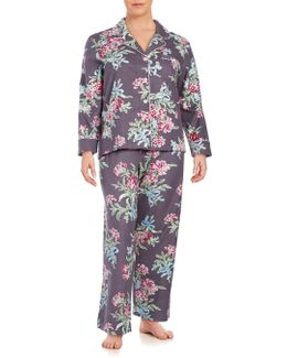 Plus Size Printed Flannel Long Sleep Set