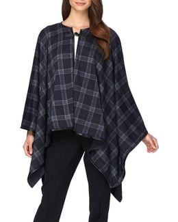 Faux Leather Trimmed Plaid Poncho