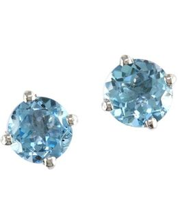 14k White Gold And Blue Topaz Earring